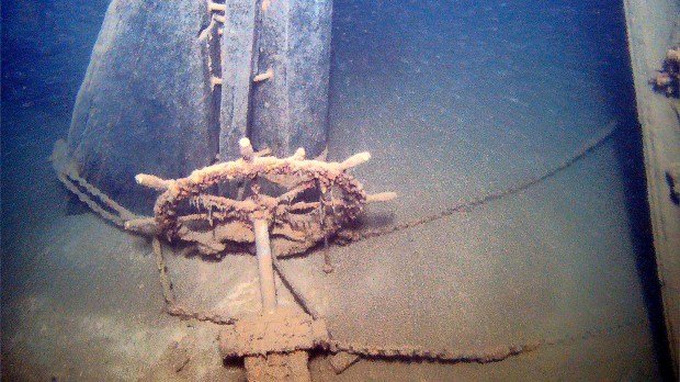 The wheel and rudder of the Antelope broke free from the rest of the ship when it sank in 1897, and now rest alongside the wreck on the bottom of Lake Superior. (Photo courtesy of Jerry Eliason, Ken Merryman and Kraig Smith)