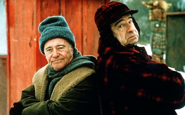 "Actor Walter Matthau, right — shown with actor Jack Lemmon in the 1993 movie ""Grumpy Old Men,"" on the set in Wabasha, Minn. — was born on this day in 1920. He died in 2000. (Courtesy photo)"