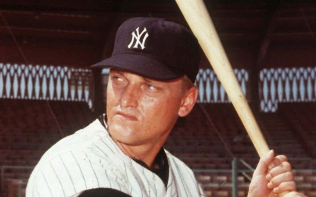 """Baseball great and Hibbing-born, Fargo-raised Roger Maris was born on this in 1934. He broke Babe Ruth's single-season record of 60 home runs, hitting 61 in the 1961 season, though in more games. Maris won the Gold Glove and appeared in seven World Series, five with the New York Yankees. Maris died of cancer at age 51, in 1985. Here's a quote from his obit: ''I was born surly."""" He's shown in 1965. (Associated Press file photo)"""
