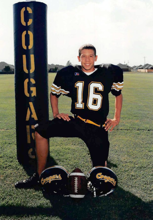 Vikings quarterback Sam Bradford, at age 13-14 when he played junior high football for the Cooper Cougars in Oklahoma City, Okla. Photo courtesy of Kent Bradford.