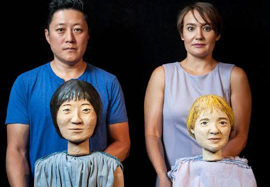 """Kurt Kwan and Kate Guentzel play the surviving children of Medea in Michael Elyanow's creepy/funny """"The Children,"""" at Pillsbury House Theatre through Oct. 16. (Bruce Silcox photo)"""