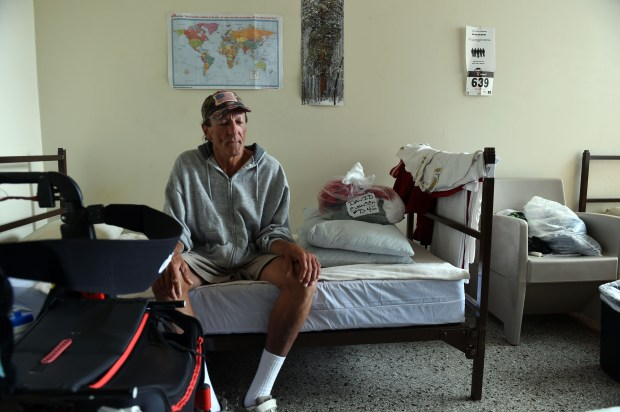 David Evansen, 68, is homeless, temporarily housed in Catholic Charities' emergency living program in Mary Hall, St. Paul, Wednesday, August 24, 2016. (Pioneer Press: Scott Takushi)