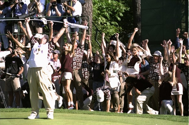 The U.S. team celebrates after Justin Leonard sunk a huge putt during the 33rd Ryder Cup match played Sept. 26, 1999, at the Brookline CC in Boston. (Craig Jones /Allsport)