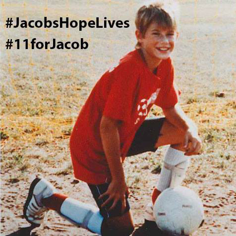 """Jacob Wetterling loved sports. He loved playing hockey, basketball, soccer and football. When his father, Jerry, coached his Central Minnesota Youth Soccer Association soccer team, Jacob, 11, wore a red jersey with the number """"11"""" on it. Now the Wetterling family is asking people to use the number 11 to honor their son by adding it somewhere on their person """"at their next game, concert or big event to show their commitment to making the world a better place for kids,"""" they wrote in a post Wednesday, Sept. 7, 2016 on the Jacob Wetterling Resource Center's Facebook page. Photo courtesy of the Jacob Wetterling Resource Center."""