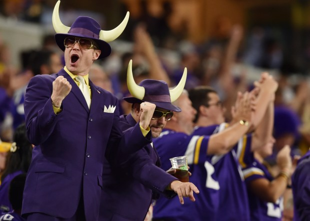 Minnesota Vikings fans cheer during a Green Bay Packers third and long in the third quarter at U.S. Bank Stadium in Minneapolis on Sunday, Sept. 18, 2016. (Pioneer Press: John Autey)