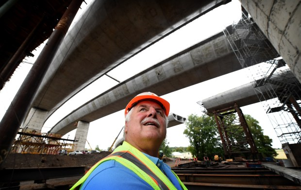 Terry Zoller, St. Croix Crossing construction manager, checks the progress on Sept. 16, 2016. He plans to retire when the bridge opens in 2017. (Pioneer Press: Jean Pieri)