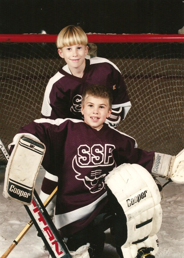 Minnesota Wild goalie Alex Stalock, front, is shown when he played South St. Paul youth hockey at age 7. His brother Nick, in back, is 8. Photo courtesy of Cindy Stalock.