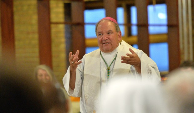 Archbishiop Bernard Hebda speaks during the Vigil Prayer for the Day of Prayer for Unity and Peace at the Church of St. Peter Claver in St. Paul on Thursday, Sept. 8, 2016. (Pioneer Press: John Autey)
