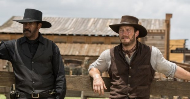"Denzel Washington, left, and Chris Pratt make up 28.5 percent of ""The Magnificent Seven."" (Columbia Pictures)"