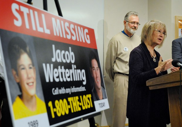 Patty and Jerry Wetterling take part in a news conference Tuesday, Oct. 14, 2014 at the Stearns County Law Enforcement Center in St. Cloud, Minn. to announce the installation of six new billboards that will be placed near where their son Jacob was abducted in 1989. (St. Cloud Times: Dave Schwarz)