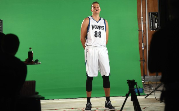 Nemanja Bjelica finds something funny as he poses for a videographer during the Minnesota Timberwolves' Media Day in Minneapolis, Monday, Sept. 26, 2016. (Pioneer Press: Scott Takushi)