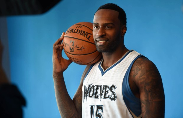 Shabazz Muhammad poses for a photographer during the Minnesota Timberwolves' Media Day in Minneapolis, Monday, Sept. 26, 2016. (Pioneer Press: Scott Takushi)