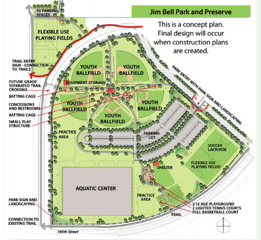 Proposals for Jim Bell Park. (Courtesy of city of Farmington)