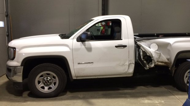 A fugitive led six east metro law enforcement agencies on a wild pursuit and caused multiple collisions Friday afternoon, Oct. 21, 2016. He abandoned this pickup in St. Paul and was apprehended two hours after fleeing on foot, according to the Ramsey County sheriff's office. (Photo courtesy Ramsey County sheriff's office)