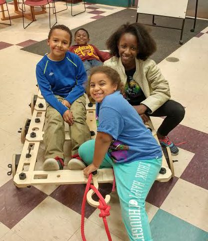 Children at Conway Community Center in St. Paul play with a new building set called a Rigamijig. (Photo courtesy of the Sanneh Foundation)