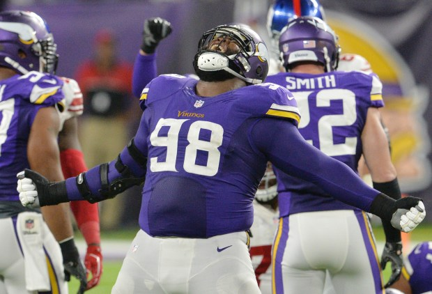 Vikings defensive tackle Linval Joseph shouts in victory after stopping the New York Giants on a third down in the second quarter at U.S. Bank Stadium on Monday, Oct. 3, 2016. (Pioneer Press: John Autey)