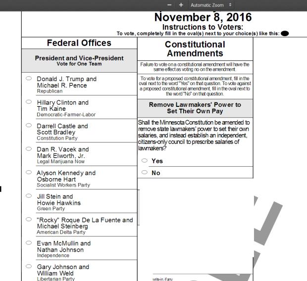 Image of sample Minnesota ballot.