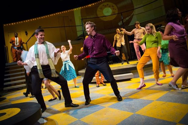 "For much of ""Teen Idol: The Bobby Vee Story,"" the title role is played by Tyler Michaels (center). Tod Petersen takes over for the more ""mature"" years. (History Theatre)"