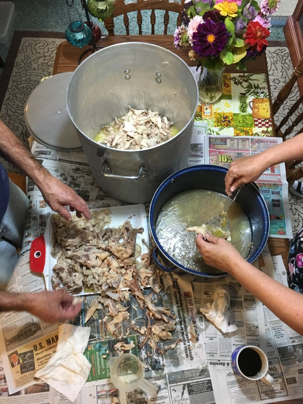 Oct. 6, 2016 photo of early morning prepping the chicken for booya at Jess Fleming's parents' house in eastern Wisconsin. (Pioneer Press: Jessica Fleming )