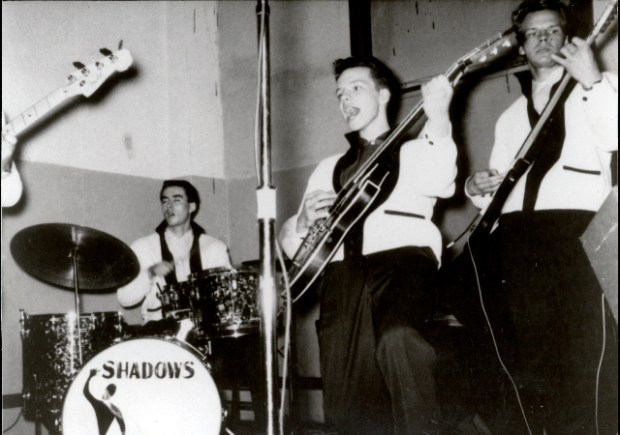 "Undated black and white courtesy photo of Bobby Vee, second right, performing with his band The Shadows in an undated photo. Vee, a clean-cut teen idol singer of the early 1960s who recorded such hit songs as ""Take Good Care of My Baby,"" ""Rubber Ball"" and ""Come Back When You Grow Up,"" and who once hired Bob Dylan for his backup band, died Oct. 24, 2016 at a care center in Rogers, Minn. He was 73. Vee was a Fargo, North Dakota, teenager and bandleader when he got his start filling in for the rock star Buddy Holly, who had died in a plane crash in 1959 on the way to a dance near Vee's home town. (Photo courtesy of the Vee family)"