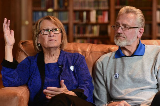 """I'm not done, my commitment to building a safer, better world is still here,"" said Patty as she and husband Jerry Wetterling spoke with the media, in Minneapolis, Tuesday, Oct. 11, 2016. (Pioneer Press: Scott Takushi)"