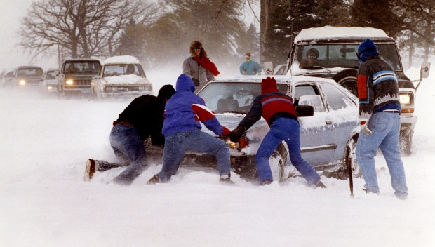 Over two feet of snow and winds gusting to 50 mph prove too much, at least temporarily, for this car on Manning Ave. in Afton Township on Saturday, Nov. 2, 1991. (Pioneer Press: Chris Polydoroff)