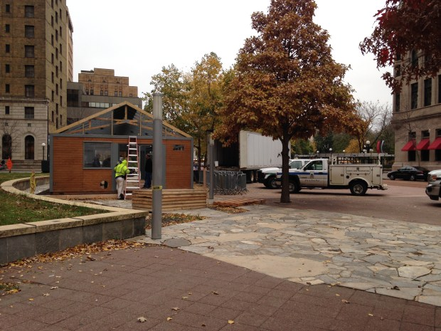 The warming house for the Wells Fargo Winterskate near Landmark Center started to go up on Monday. The rink opens Nov. 19, 2016, the same day as the annual tree lighting in Rice Park. (Pioneer Press: Kathy Berdan)