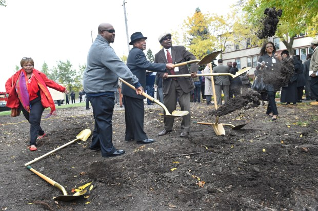 From left: Jackie Cooper, on the board of directors at Rondo Avenue Inc., Ronald Buford, president of Rondo Avenue Inc., Marvin Roger Anderson, Rondo Avenue Inc. co-founder and Plaza project manager, and Floyd J. Smaller Jr., Rondo Avenue Inc. co-founder at the groundbreaking ceremony of the Rondo Commemorative Plaza in St. Paul on Friday, Oct. 14, 2016. (Pioneer Press: Jean Pieri)