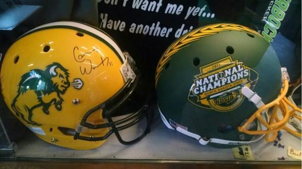 A Carson Wentz-autographed North Dakota State Bison helmet at Knickerbocker Liquor Locker in Hickson, N.D. (Courtesy of Mike Brice)