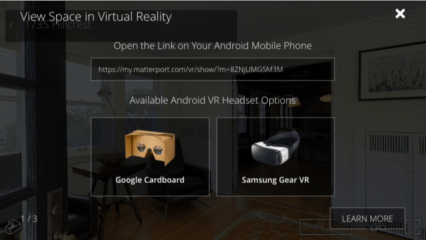 Matterport's virtual-reality technology is not yet compatible with all available VR-goggle models. The company does provide Android-based apps for users of Google Cardboard and Samsung Gear VR goggles (Courtesy image: Matterport and Lynden Realty)