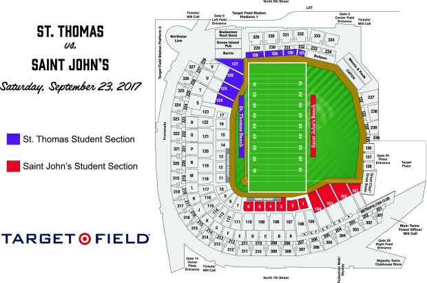 St. Thomas vs. Saint John's Football Student Map