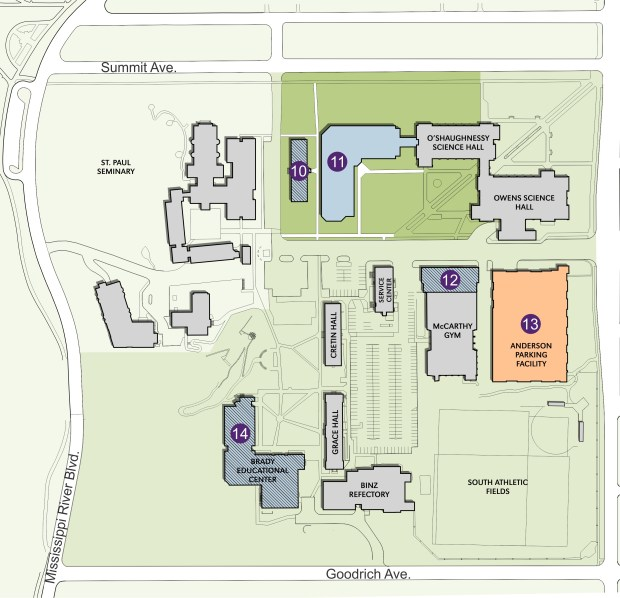 10. Loras Hall would be moved 100 feet west and renovated. 11. New science and engineering building. 137,000 square feet. 12. New South Campus boilers. 13. Anderson Parking Facility addition. 300 parking spaces on two additional levels. 14. Brady Education Center renovation. 40,000 square feet.