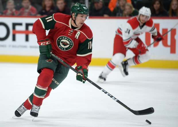 Wild left-winger Zach Parise handles the puck down the rink during the Minnesota Wild's preseason game against the Carolina Hurricanes at the Xcel Energy Center on Sunday, Oct. 2, 2016. (Pioneer Press: Liam James Doyle)