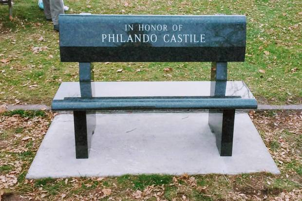 A memorial bench for Philando Castile was installed Nov. 17, 2016, at JJ Hill Montessori Magnet, where the slain motorist worked in the cafeteria. St. Anthony police officer Jeronimo Yanez was charged with manslaughter in Castile's shooting death. (Courtesy of St. Paul Federation of Teachers)