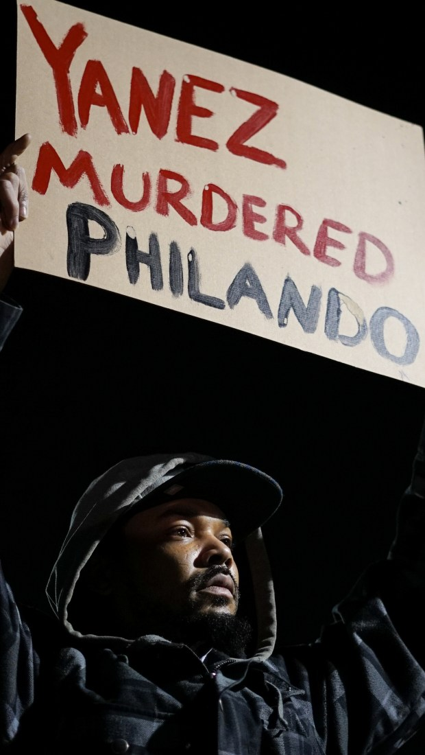 "Darius Taylor, a childhood friend of Philando Castile, said he ""was a good brother who didn't deserve that,"" at a rally Wednesday, Nov. 16, 2016, to celebrate charges filed against the officer who shot and killed Castile. (Special to the Pioneer Press: Sophie Hoover)"