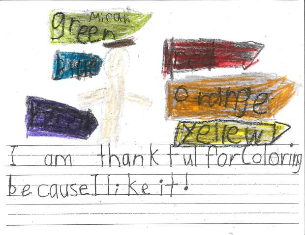 """""""I am thankful for coloring because I like it!"""" — Micah P., Oakdale, Eagle Point Elementary"""