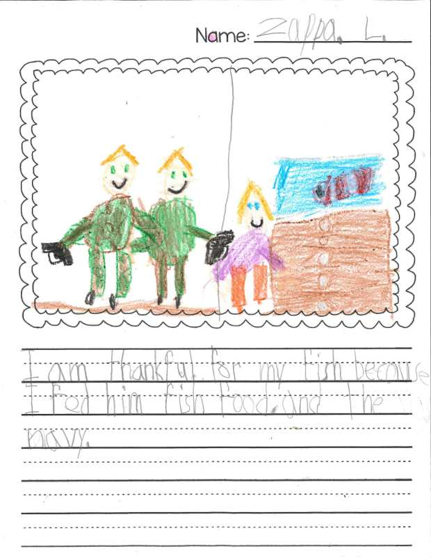 """""""I am thankful for my fish because I fed him fish food. And the navy."""" —Zappa L., Mendota Heights, Mendota Elementary"""