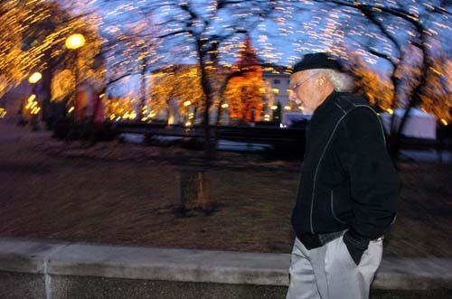John Nasseff walks past Rice Park during a morning amble through St. Paul in late December. The 83-year-old multimillionaire philanthropist walks daily around downtown, where he lives, or the West Side, where he grew up as the sixth son of Lebanese immigrants.
