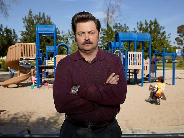 """Nick Offerman as """"Parks and Recreation's"""" Ron Swanson. (Mitchell Haaseth/NBC)"""