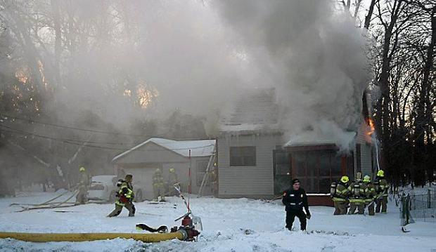 Eagan firefighters battle a blaze in the 2000 block of Lexington Avenue in January 2014. (Courtesy of Eagan Fire Department)