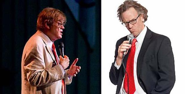 """Garrison Keillor, left, wrote """"Radio Man,"""" which starred Pearce Bunting. Notice any resemblance? (History Theatre)"""