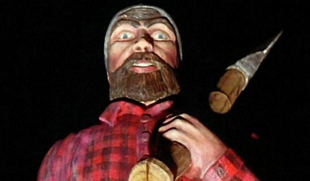 """This is the scary Paul Bunyan statue from the movie """"Fargo."""" It has a """"Welcome to Brainerd, Home of Paul Bunyan"""" sign -- but it's on Pembina County Highway 1 outside Bathgate, North Dakota. (Courtesy of Gramercy Pictures)"""