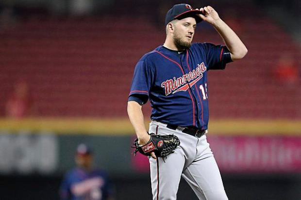 Minnesota Twins relief pitcher Glen Perkins, on the mound in the ninth inning against the Cincinnati Reds on July 1, 2015, in Cincinnati. The Twins won 8-5. (AP Photo/John Minchillo)