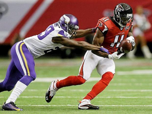 Atlanta Falcons Wide Receiver Julio Jones 11 Makes A Catch On Minnesota Vikings Cornerback