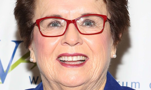"""Tennis player Billie Jean King is 73. She was 29 when she chalked one up for women and beat 55-year-old male player Bobby Riggs in 1973's """"Battle of the Sexes."""" (Getty Images: Robin Marchant)"""