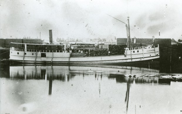 WRECK1103c3 -- The freighter J.S. Seaverns is pictured at dock at Muskegon, Mich., in this undated photo. (Photo from the C. Patrick Labadie Collection / Thunder Bay National Marine Sanctuary, Alpena, Mich.) MANDATORY CREDIT