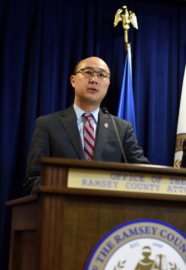 Ramsey County Attorney John Choi announces criminal charges against police officer Jeronimo Yanez on Wednesday, Nov. 16, 2016, in the death of Philando Castile in Falcon Heights in July 2016. (Pioneer Press: Scott Takushi)