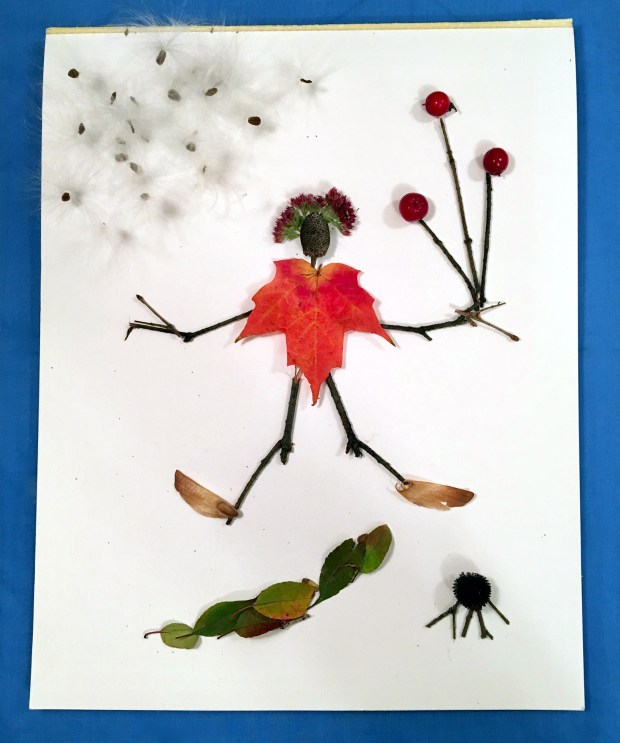 Make a stick-style figure with sticks and other finds on a sheet of paper. (Courtesy Donna Erickson)