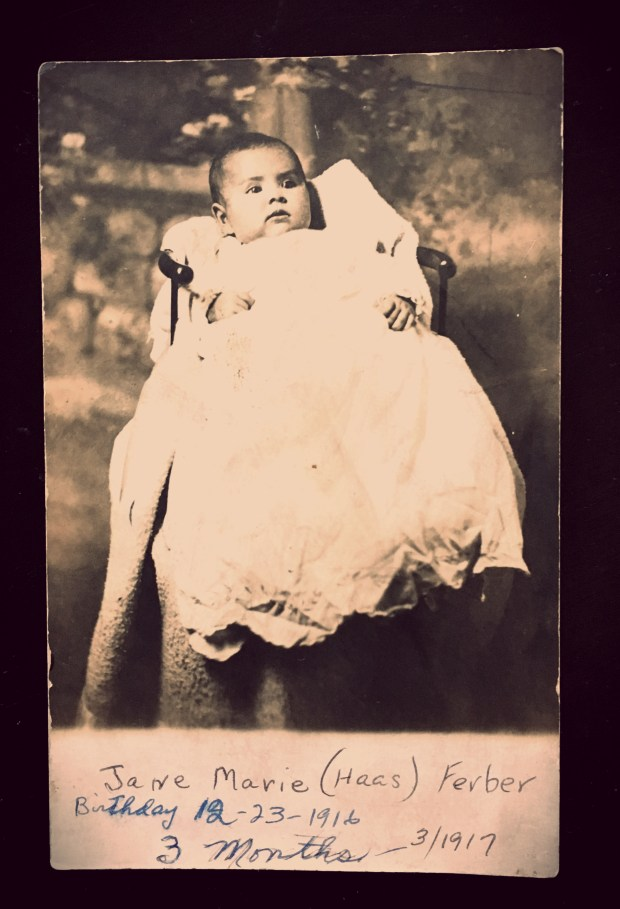 Jane Marie Haas Ferber, pictured here in 1917 at age thee months, was the first baby in the family to wear the christening gown made from of her mother's wedding dress. (Courtesy photo)