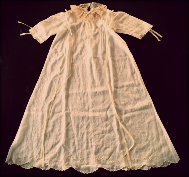 This christening gown, made out of a 1915 wedding dress, will be worn at its 75th christening on Nov. 27, 2016. (Pioneer Press: Molly Guthrey)